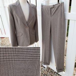 Dressbarn Brown Cream Plaid Pants Suit